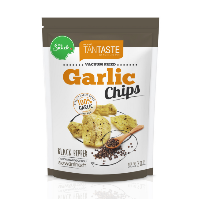 20g - Tan Taste Vacuum Fried Garlic Chips Black Pepper (package front)