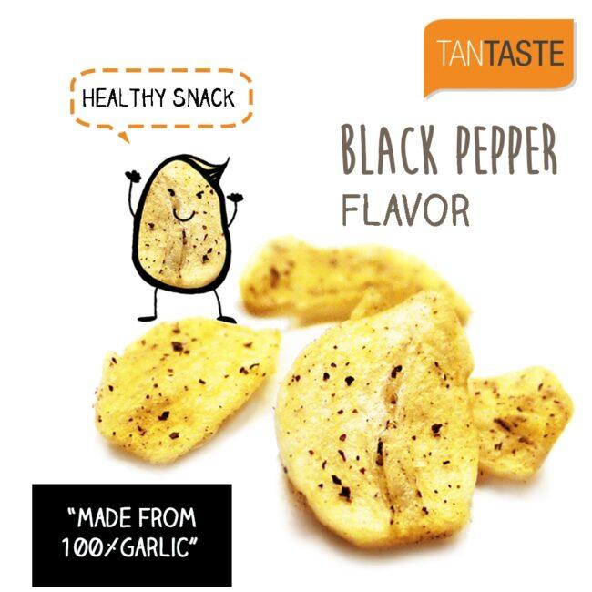 20g - Tan Taste Vacuum Fried Garlic Chips Black Pepper (product inside)