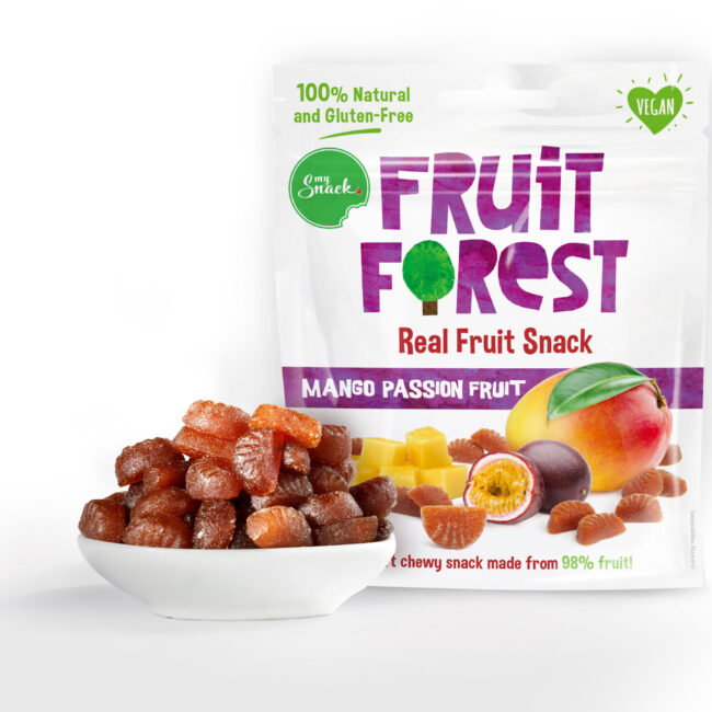 MySnack Naturaalne Mango- ja Passionimaius 30g - Fruit Forest Real Fruit Snack Mango Passion Fruit (package front and product inside)