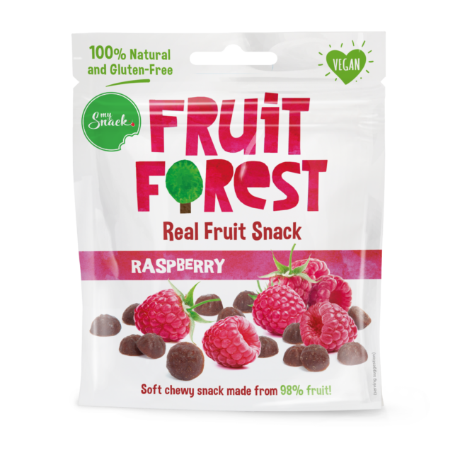 Naturaalne vaarikamaius 30g - Fruit Forest Real Fruit Snack Raspberry (package front)