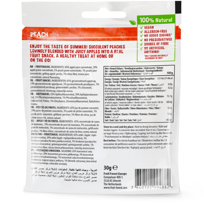 30g - Fruit Forest Real Fruit Snack Peach (package back)