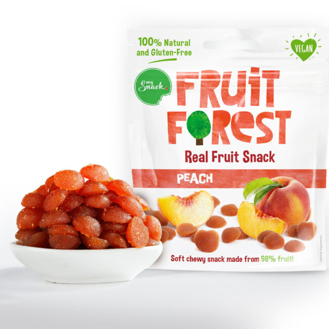 MySnack Naturaalne Virsikumaius 30g - Fruit Forest Real Fruit Snack Peach (package front and product inside)