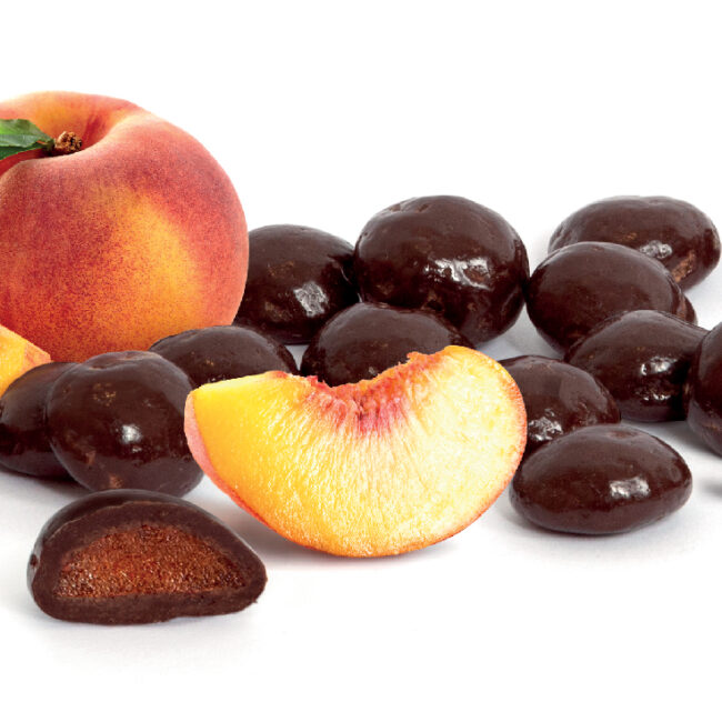 MySnack Tumedas Belgia Sokolaadis Virsikumaius 30g - Fruit Forest Peach In Chocolate (product inside)