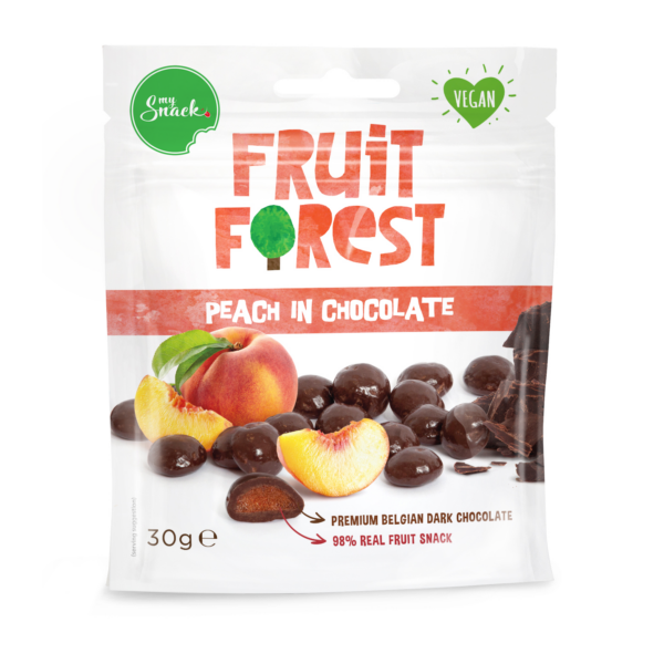 MySnack Tumedas Belgia Sokolaadis Virsikumaius 30g - Fruit Forest Peach In Chocolate (package front)