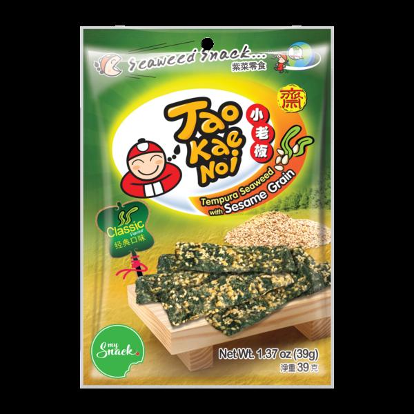 MySnack Merevetikas Seesam 39g - Tao Kae Noi Tempura Seaweed Snack with Sesame Grain (package front)