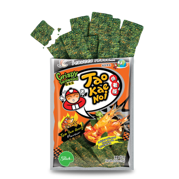 MySnack Merevetikas Tom Yum 15g - Tao Kae Noi Crispy Seaweed Snack Tom Yum Goong Flavour (package front and product inside)